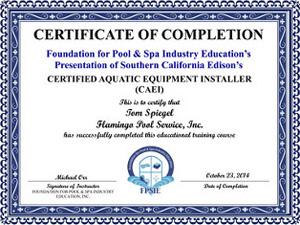 certified aquatic equipment installer